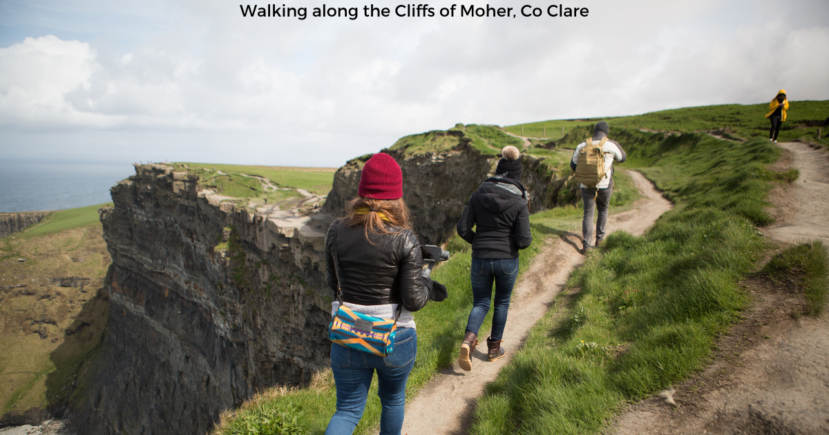 Walking along the Cliffs of Moher, Co Clare
