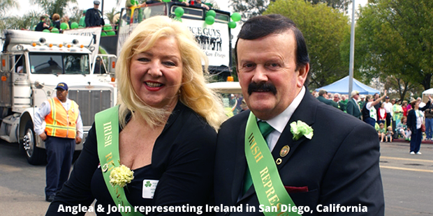 Angela and John take part in the San Dieo St Patrick's Day parade